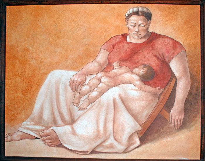 Expresión de misterio en rostro de mujer con su bebé.