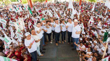 Un multitudinario cierre de campaña realizó Mauricio Góngora en tres municipios del sur del estado.